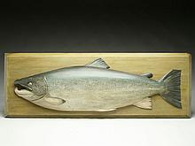 Carved wooden salmon trophy fish, H.N. Ashford, circa 1905.