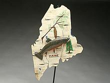 Carved brook trout on wooden State of Maine backboard, Lawrence Irvine, Winthrop, Maine.