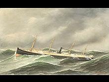 Oil on canvas of the steam ship Eureka, Antonio Jacobsen.