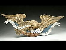 Carved wooden eagle coat of arms.