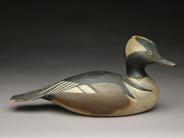 One of a kind hooded merganser drake, Ward Brothers, Crisfield, Maryland, circa 1930s.