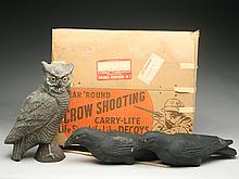 Carry-Lite paper mache owl and crow set.