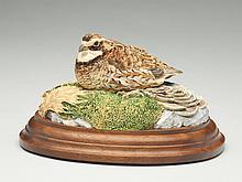 Carved 1/2 size quail, Ernie Muehlmatt.