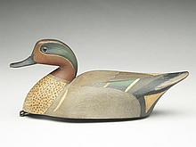 Hollow carved greenwing teal drake, Cameron McIntyre, New Church, Virginia.