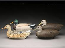 Four cork body decoys, Cigar Daisey, Chincoteague, Virginia.