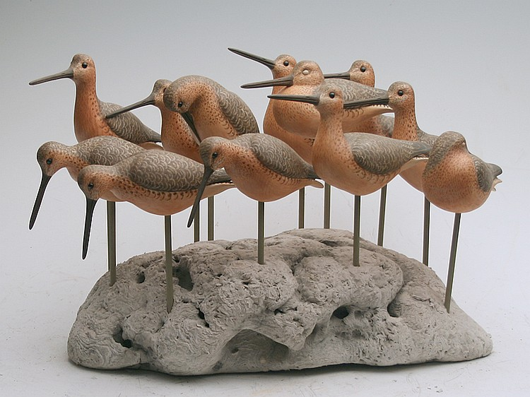 Unique display of 12 very well carved dowitchers, Cigar Daisey, Chincoteague, Virginia.