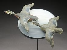 Hard to find pair of 1/3 size flying wood ducks on wall bracket, George Strunk.