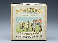 Pointer shotgun shell box by Clinton Cartridge Company, Chicago, Illinois.