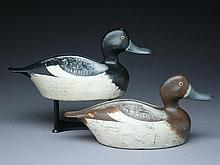 Rigmate pair of hollow carved bluebills, Paul Lipke, Whiting, Indiana.