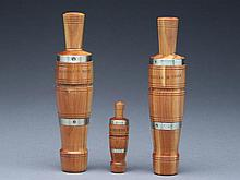 Three duck calls, Hadden Perdew, Henry, Illinois, last half 20th century.
