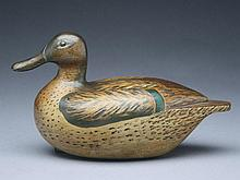 Very rare greenwing teal hen, Joseph Zender, Chicago, Illinois, circa 1930s.