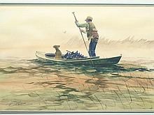 Watercolor of hunter with decoys in gunning boat, Lou Schiffrel.
