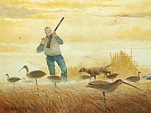 Oil on canvas of hunter with shorebird decoys, Lou Schiffrel.