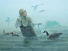 Oil on canvas of hunter setting out decoys, Lou Schiffrel.