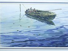 Watercolor of decoys in gunning boat by Lou Schiffrel.