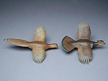 Pair of 1/3 size flying grouse, George Reinbold.