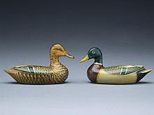Pair of 1/4 size decorative mallards, Charles Perdew, Henry, Illinois, circa 1945.