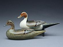 Pair of 1/3 size decorative pintails, Charles Perdew, Henry, Illinois, circa 1945.
