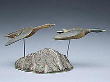Pair of miniature flying mallards on burl base, Charles Perdew, Henry, Illinois.