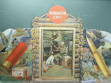 Remington UMC trifold die cut, man with dog in cabin.
