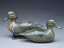 Rare rigmate pair of greenwing teal, Amiel Garibaldi, San Francisco, California, circa 1930s.