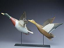 One of a kind pair of flying mallards, Philippe Sirois, Arrowsic, Maine, circa 1950s.