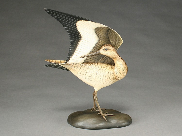 Preening willet with lifted wing on carved base, William Gibian, Onancock, Virginia.