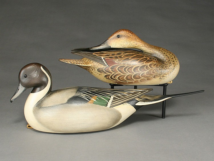 Sculpturesque pair of pintails, William Gibian, Onancock, Virginia.