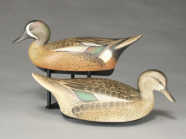 Pair of hollow carved bluewing teal, Leo McIntosh, Adams New York.