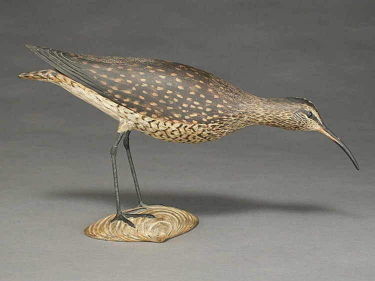 Extremely rare full size feeding Whimbrel mantel carving, Elmer Crowell, East Harwich, Massachusetts, 1st quarter 20th century.