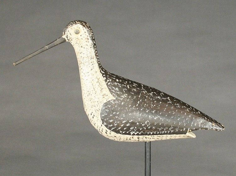 Unusual paper mache yellowlegs attributed to Joseph Lincoln.