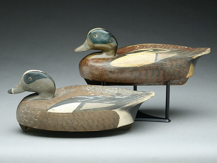 Two widgeon drakes, Wildfowler Decoy Factory, Old Saybrook, Connecticut.