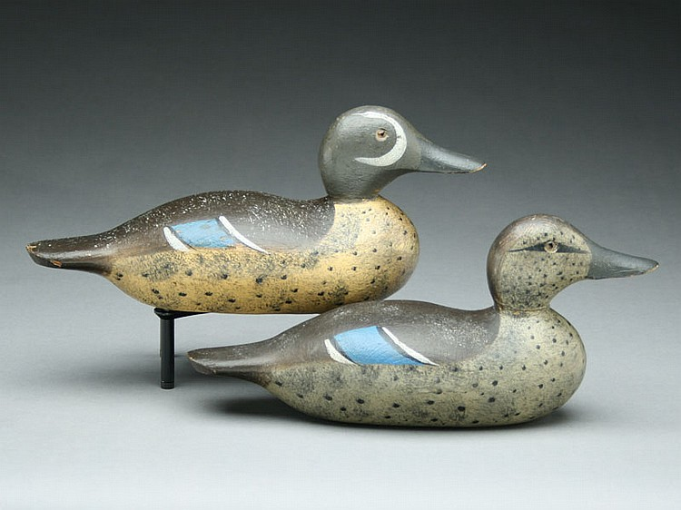 Rare rigmate pair of bluewing teal, Hays Decoy Factory, Jefferson City, Missouri, circa 1920's.
