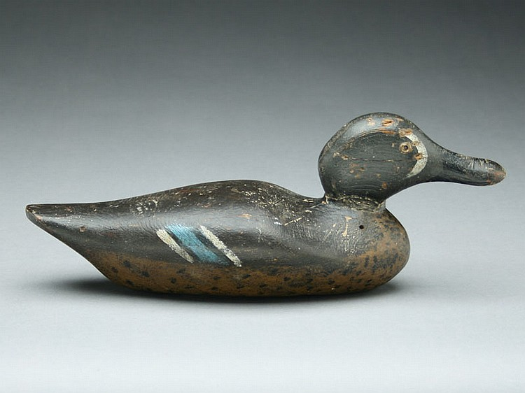 Rare bluewing teal drake, Dodge Decoy Factory, Detroit, Michigan, circa 1880's.