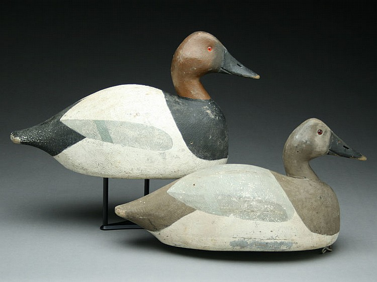 Pair of oversize canvasbacks, Frank Strey, Oshkosh, Wisconsin.