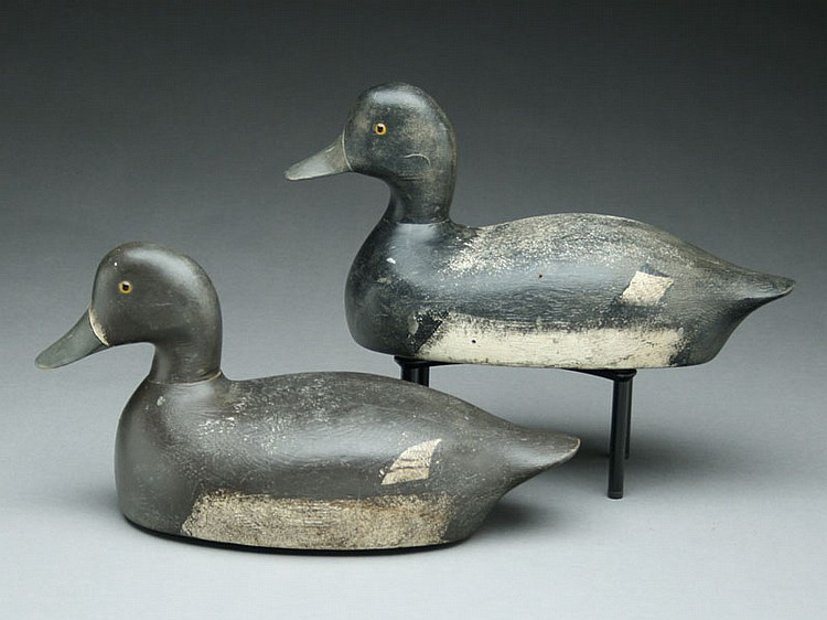 Pair of bluebills, H. Dewan, Green Bay, Wisconsin, circa 1930's.