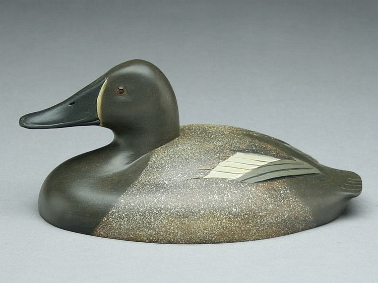 1/2 size canvasback hen carved in the style of Ferdinand Bach by Robert Kerr, Smith Falls, Ontario.