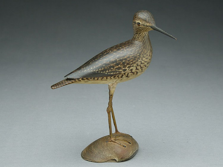 Fine decorative lesser yellowlegs, A.E. Crowell, East Harwich, Massachusetts.