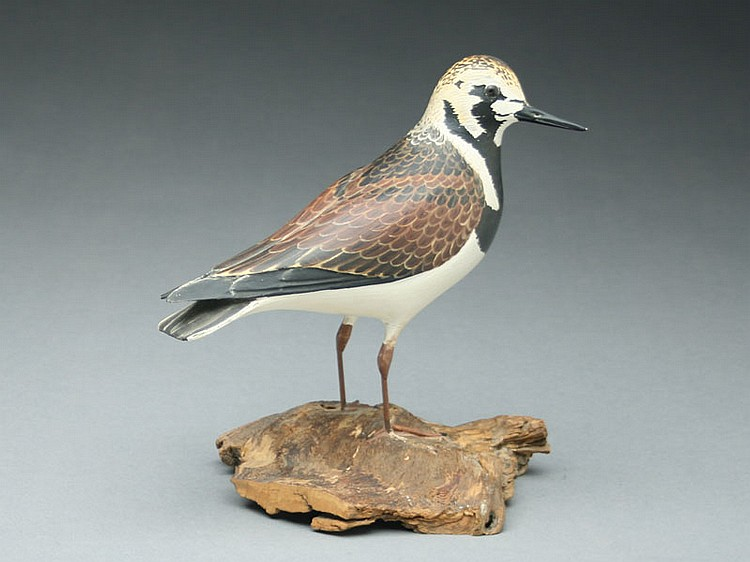 Decorative ruddy turnstone, Lloyd Johnson, Bayhead, New Jersey, signed and dated 1962 on the underside of the base.