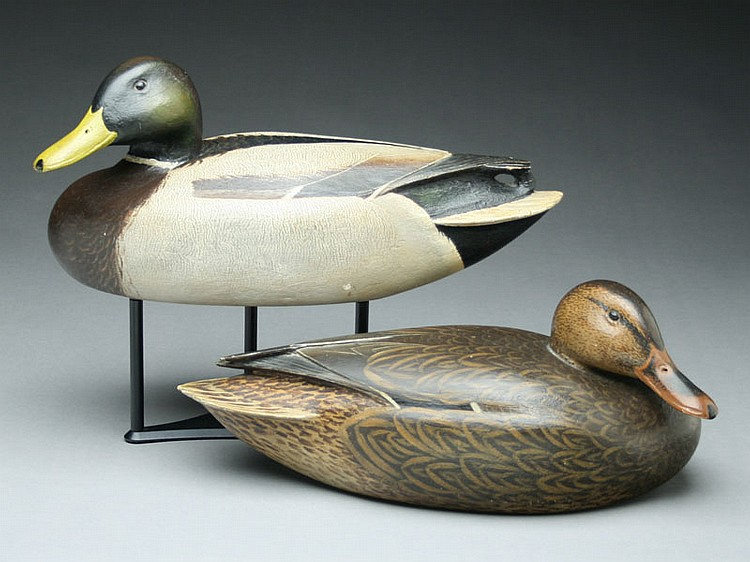 Exceptional pair of mallards, Enoch Reindahl, Stoughton, Wisconsin, circa 1930's.