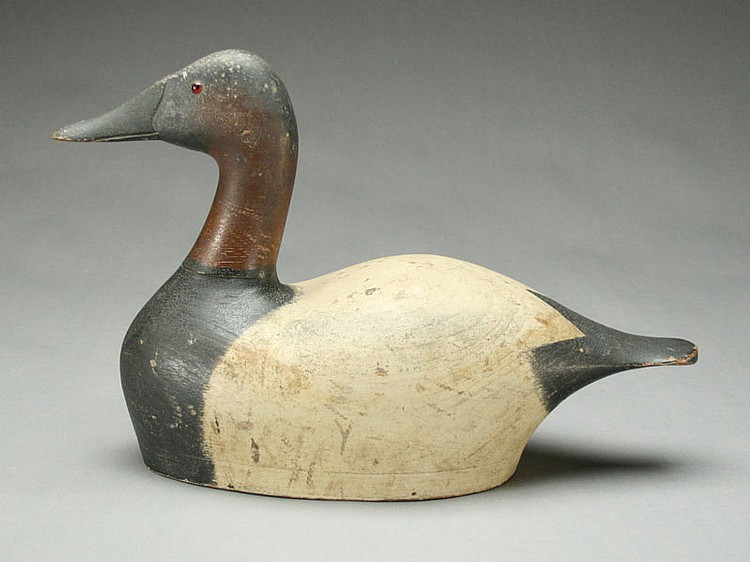 Important hollow carved canvasback drake, Joseph Sieger, Tustin, Wisconsin.