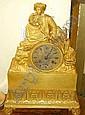 Bordsur med slag, forgylld brons, Frankrike senempire, 1800-talets 1 halft,  dekor av turkisk man sittande pa bergsformation, urverk sign Japy