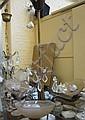 Taklampa, bronserad metall med 3 kupor, 1920-tal