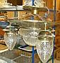 Taklampa, koppar med 3+1 glaskupa, jugend