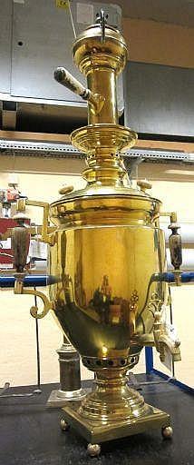 Samovar, mässing, 1800-tal, tot h inkl thekanna,
