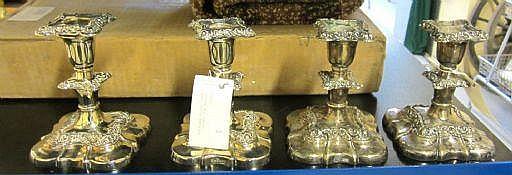 Ljusstakar, 4 st, nysilver, England 1900-tal,