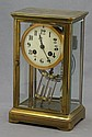 19th CENTURY BRASS & GLASS CASED MANTLE CLOCK