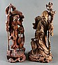 CHINESE CARVED FIGURAL HARDWOOD SCULPTURES (2)
