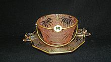 Lovely etched pink depression bowl and underplate, COND VG