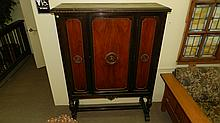 Nice 1930's / 1940's blind china cabinet, carved center medallions, with walnut panels, SSR